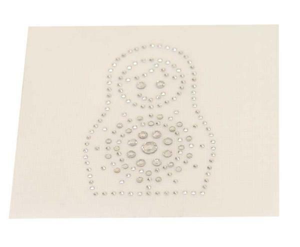 Strass steen motief - Babuschka, ca. 6 x 3,5 cm