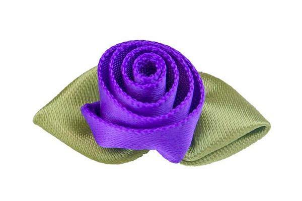 Satijnen roosjes - groot, violet