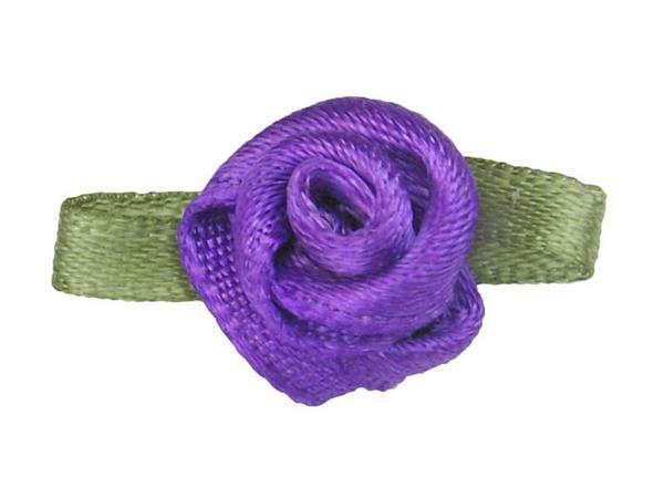 Satijnen roosjes - klein, violet