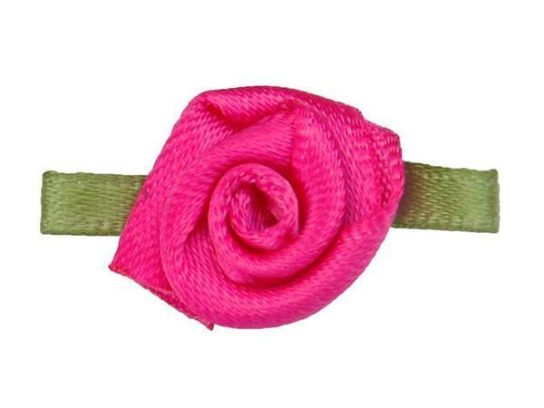 Satijnen roosjes - klein, zuurstokroze