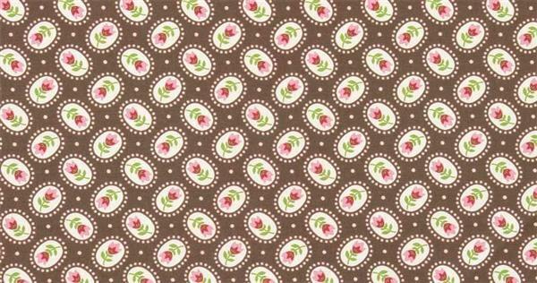 Katoenen stof - design, rozenpatroon bruin