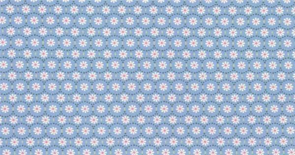 Katoenen stof - design, bloemen wit/blauw