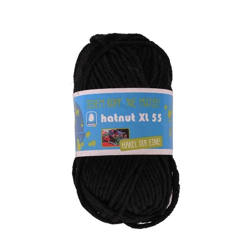 Wol hatnut XL 55 - 50 g, zwart