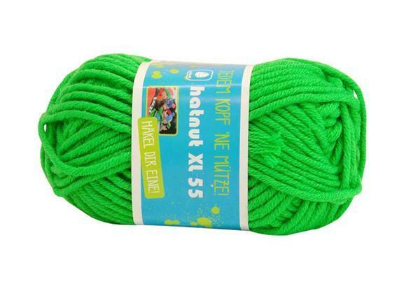 Wol hatnut XL 55 - 50 g, neongroen