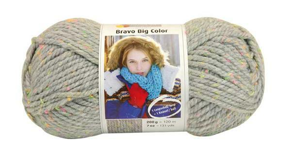 Wol Bravo Big Color - 200 g, tweed lichtgrijs
