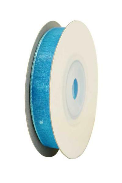 Organzaband, 10 mm - blau