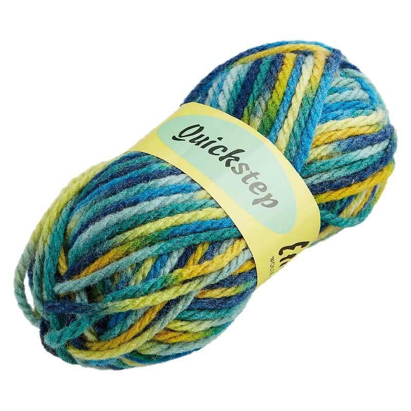 Wolle Quickstep - 50 g, Farbmix blau - gelb