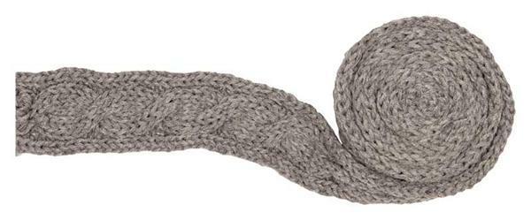 Gebreide band - kabelpatroon, grijs