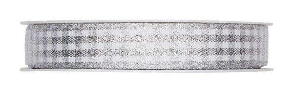 Geruit lint - 25 m, zilver-wit