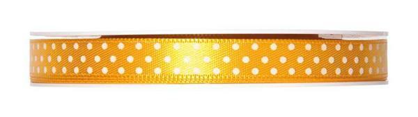 Satijnlint punten - 25 m, geel