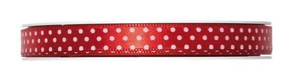 Satijnlint punten - 25 m, rood