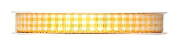 Geruit lint - 25 m, geel