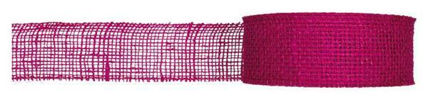 Ruban jute - 8 cm x 10 m, pink