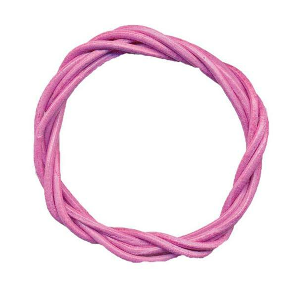 Ronde leren veters - ca. Ø 2 mm, roze
