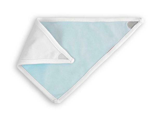 Bavoir bandana - 32 x 20 cm, blanc/bleu clair