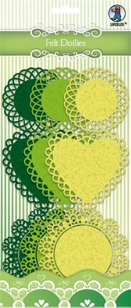 Filz Doilies - dunkelgrün/neongelb
