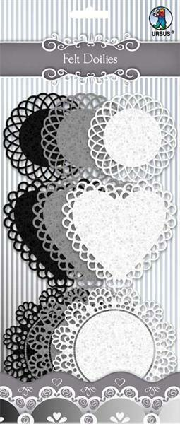 Filz Doilies - schwarz/weiß