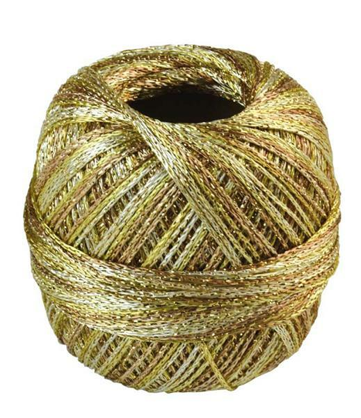 Fil à crocheter - 25 g, mélange tons or