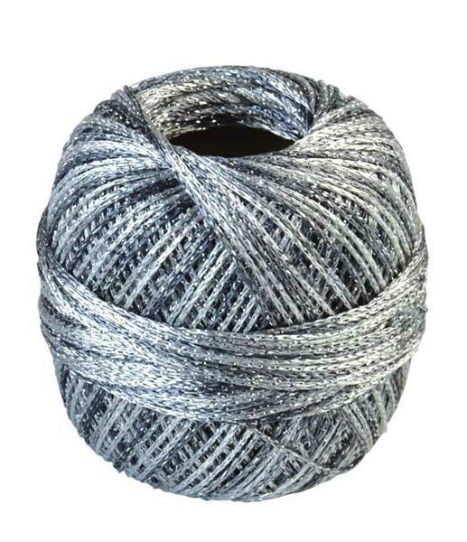 Häkelgarn - 25 g, Farbmix silber