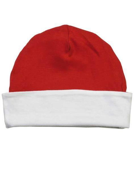 Bonnet bébé - env. Ø 36 cm, blanc/rouge