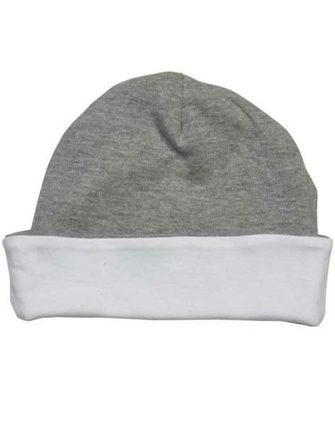 Bonnet bébé - env. Ø 36 cm, blanc/gris