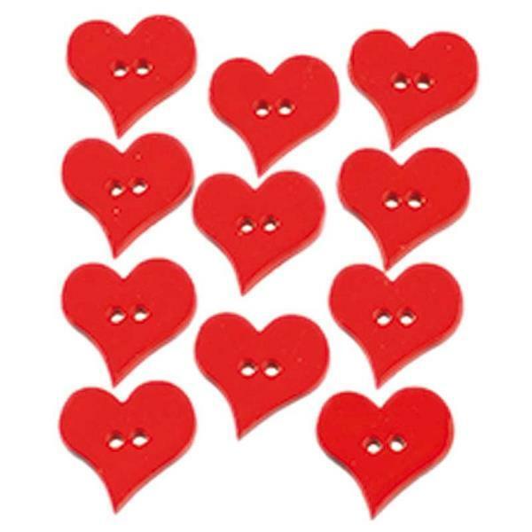 Knopen - Valentines Hearts, 25 x 25 mm, 12 stuks