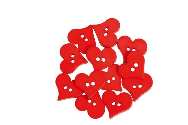Knöpfe - Valentines Hearts, 25 x 25 mm, 12 Stk.