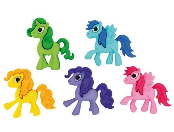 Knopen - Playful Ponies, 24 x 22 mm, 5 stuks