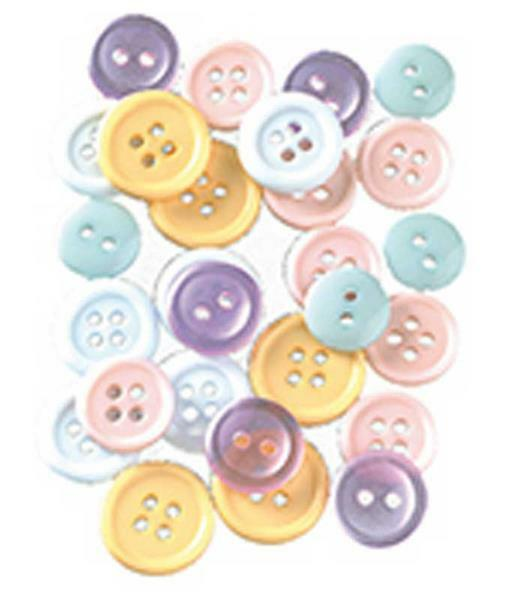 Boutons - Mélange pastel, Ø 10 - 15 mm, 130 pces