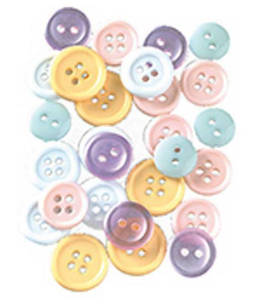 Knopen - pastel mix, Ø 10 - 15 mm, 130 stuks
