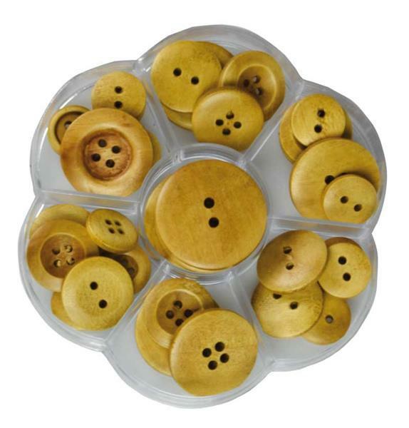 Boutons - boîte, Ø 15 - 35 mm, brun, 31 pces