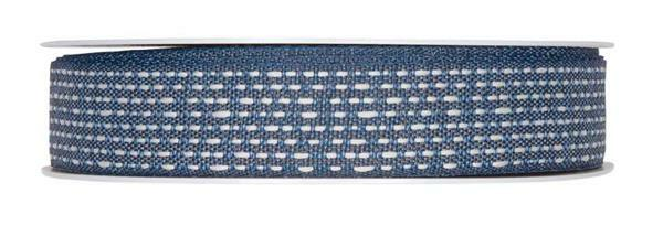 Baumwoll-Dekoband - 25 m, blau-creme