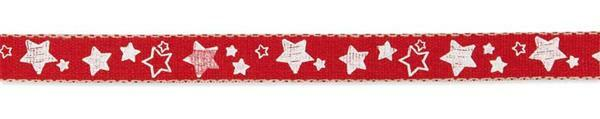"""Bedrukt lint """"Sterren"""" - 15 m, rood-wit"""