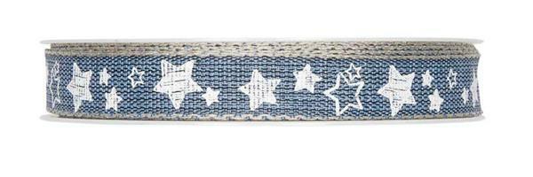 """Bedrukt lint """"Sterren"""" - 15 m, blauw-wit"""