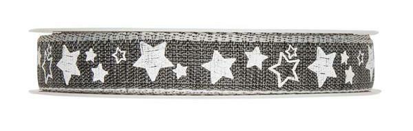 """Druckband """"Sterne"""" - 15 m, dunkelgrau-weiß"""