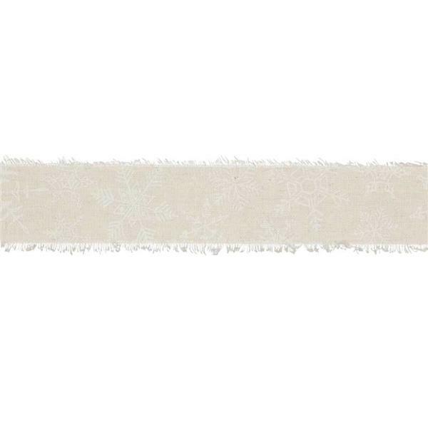 "Ruban imprimé ""Cristaux de glace"" - 3 m, lin-blanc"