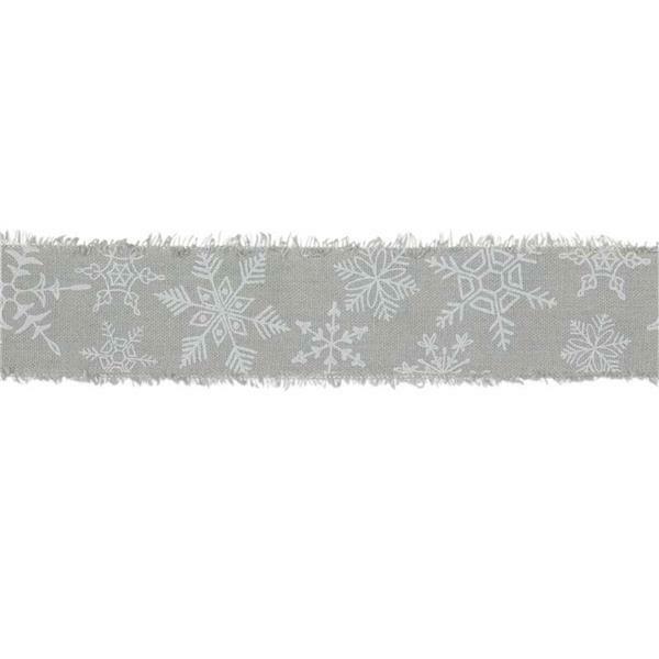"""Ruban imprimé """"Cristaux de glace"""" - 3 m,gris-blanc"""
