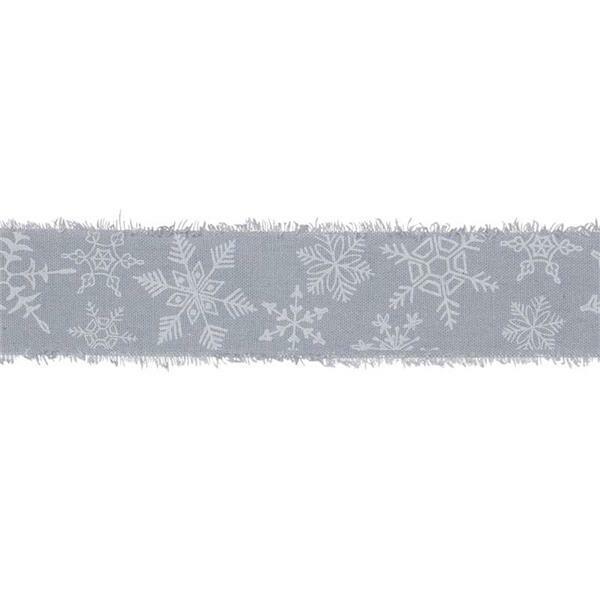 """Ruban imprimé """"Cristaux de glace"""" - 3 m,bleu-blanc"""