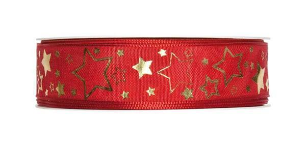 """Ruban imprimé """"Etoiles de Noël"""" - 25 mm, rouge-or"""
