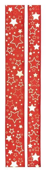 """Bedrukt lint """"Kerststerren"""" - 25 mm, rood-goud"""