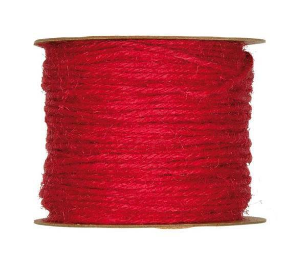 Jute koord - Ø 2 mm, rood