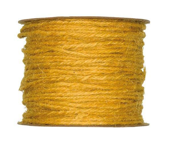 Jute koord - Ø 2 mm, geel