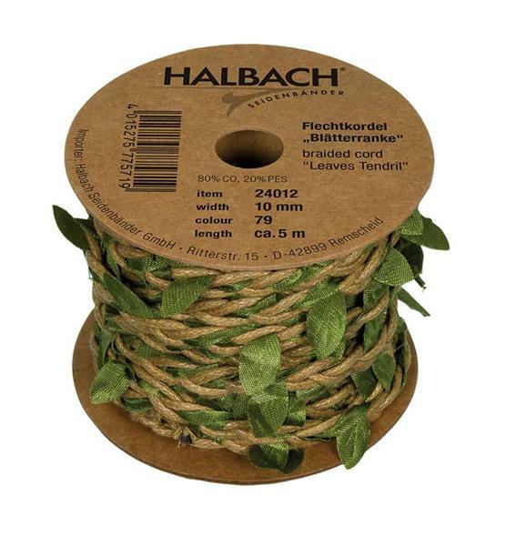 """Flechtkordel """"Blätter"""" - 5 m, natur-grün"""