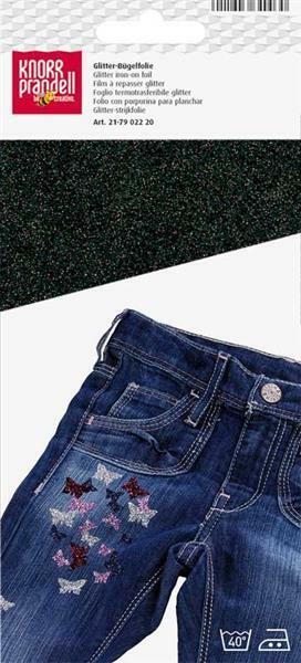 Feuille à repasser pailletée - 9 x 16 cm, noir