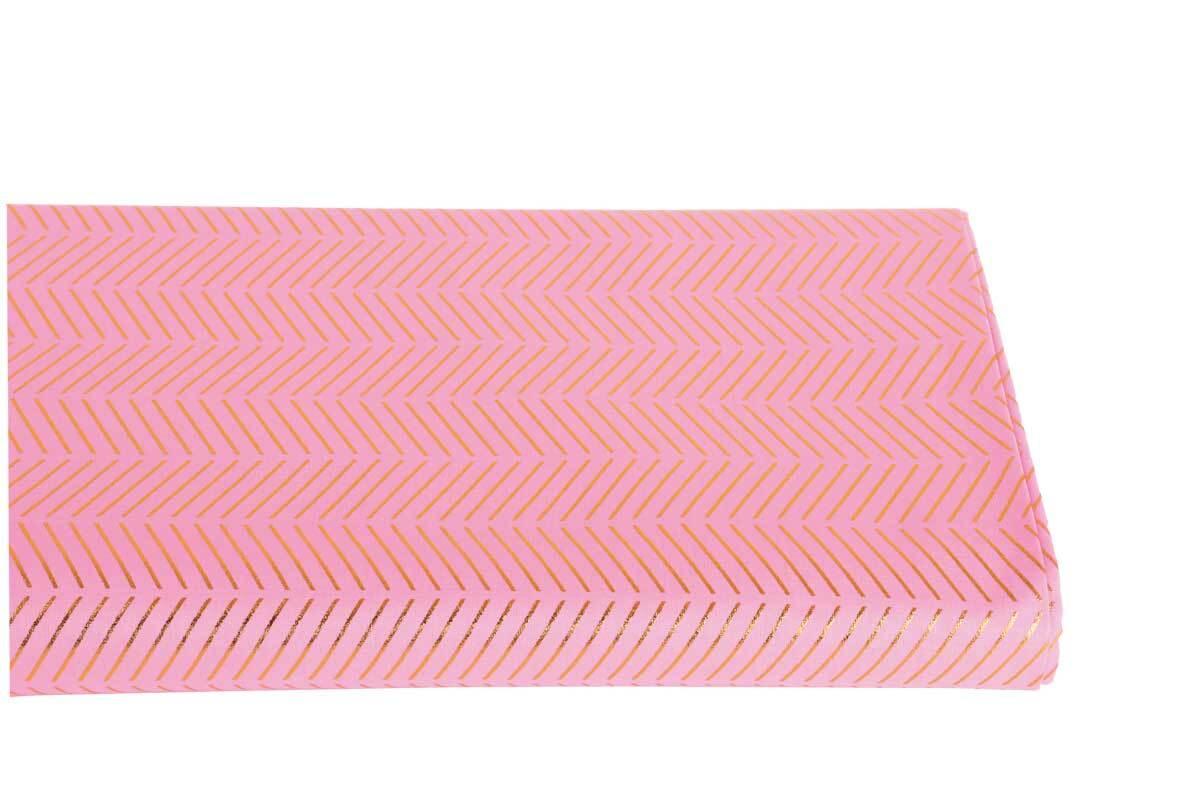 Katoenen stof - hotfoil, roze/goud gestreept