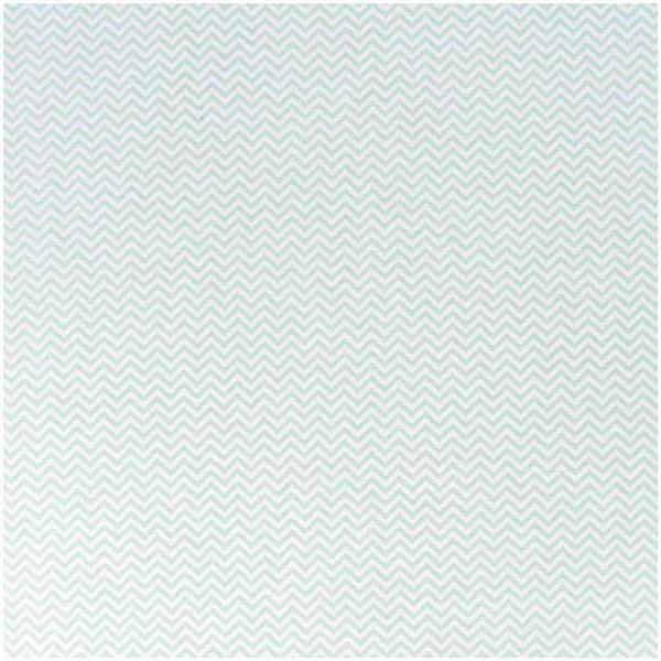 Katoenen stof - bedrukt, wit/munt zigzag