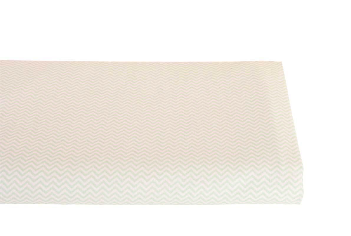 Baumwollstoff - bedruckt, weiß/mint zickzack
