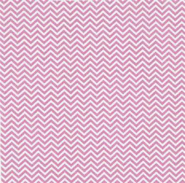 Baumwollstoff - bedruckt, weiß/pink zickzack