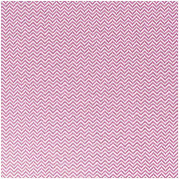 Katoenen stof - bedrukt, wit/zuurstokroze zigzag