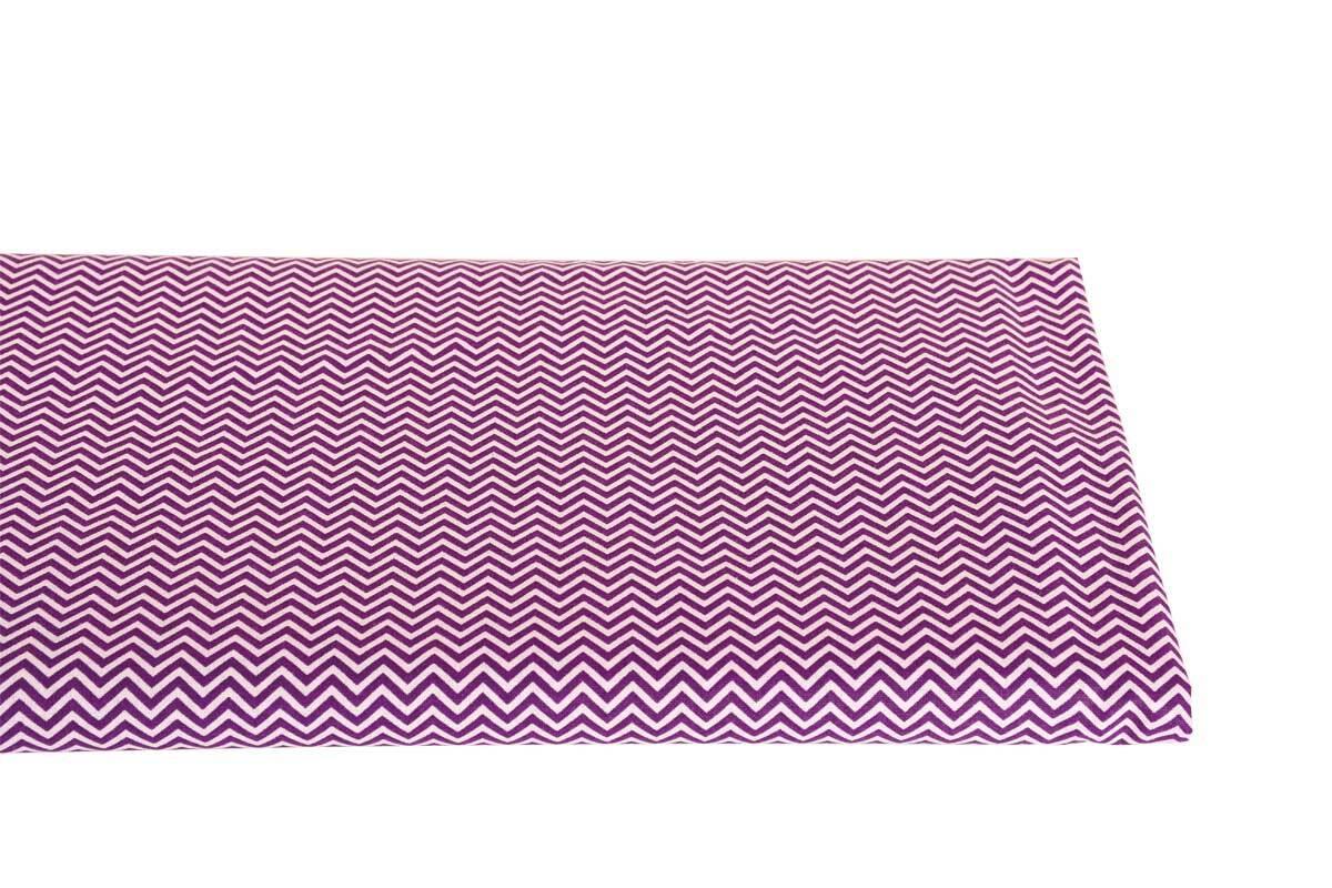 Baumwollstoff - bedruckt, weiß/violett zickzack